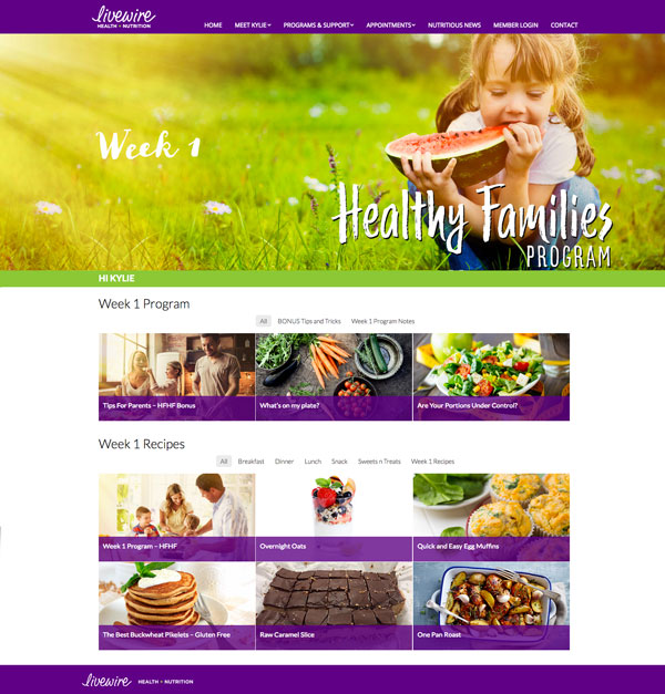 Livewire Nutrition Healthy Families Program Dashboard